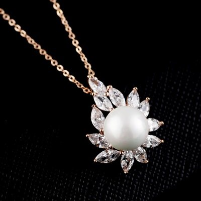 純銀項鍊 鍍18K金珍珠吊墜~簡單復古好搭生日情人節 女飾品73dn37~ ~~米蘭 ~
