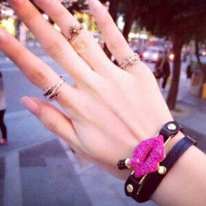 美麗大街~GS0321~ 復古 編織雙層皮質寶石水鑽嘴唇口紅手鍊手環