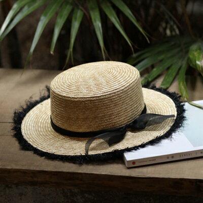 草帽手工編織平頂帽-歐美時尚渡假休閒女遮陽帽73si55【獨家進口】【米蘭精品】