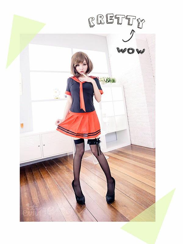 萌系水手服 紅黑角色扮演服學生裝 性感百折裙式COSPLAY服裝學生制服~流行E線A7037