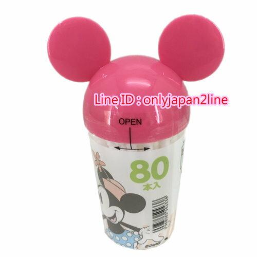 【真愛日本】16100700005棉花棒80入-頭型米妮粉   迪士尼 米老鼠米奇 米妮  棉花棒  清潔  居家