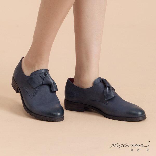 許許兒:許許兒∵真皮扭扭鞋-紳士藍