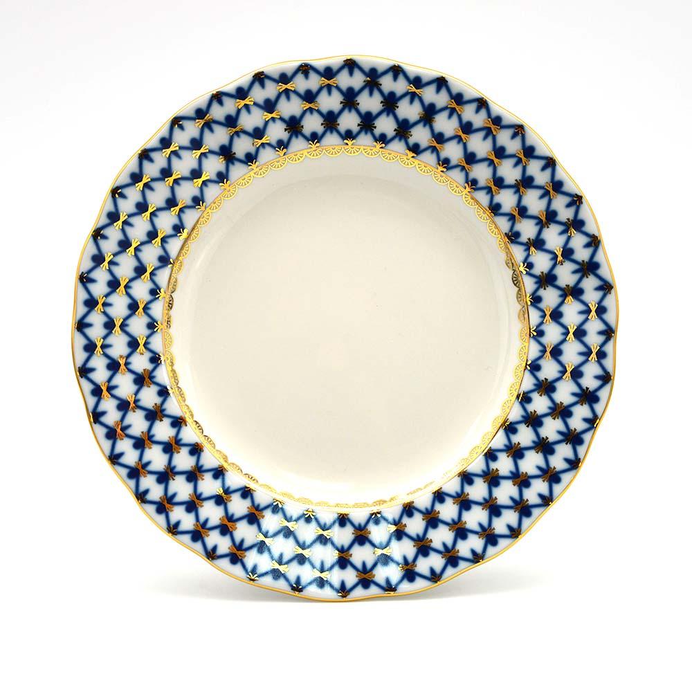 俄羅斯 Imperial Porcelain 經典網紋系列(藍)-22K金手工18CM點心盤
