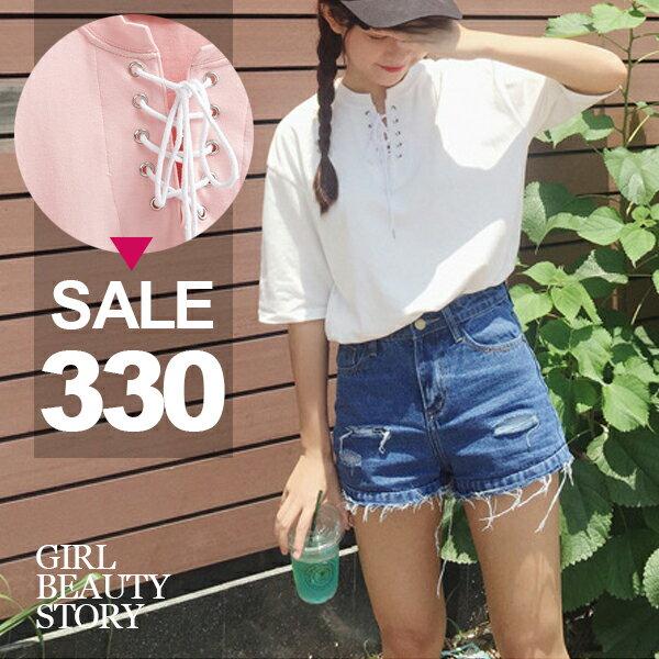 SISI~T7039~休閒百搭圓領領口交叉綁帶寬鬆純色短袖T恤上衣