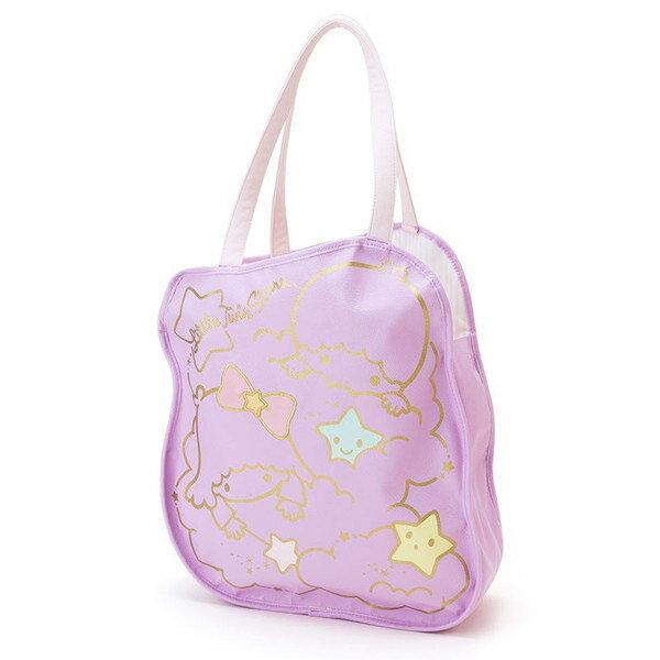 【真愛日本】15091600028造型手提袋-立體星星蝴蝶結紫 三麗鷗家族 Kikilala 雙子星 手提袋 手提包 包包 正品