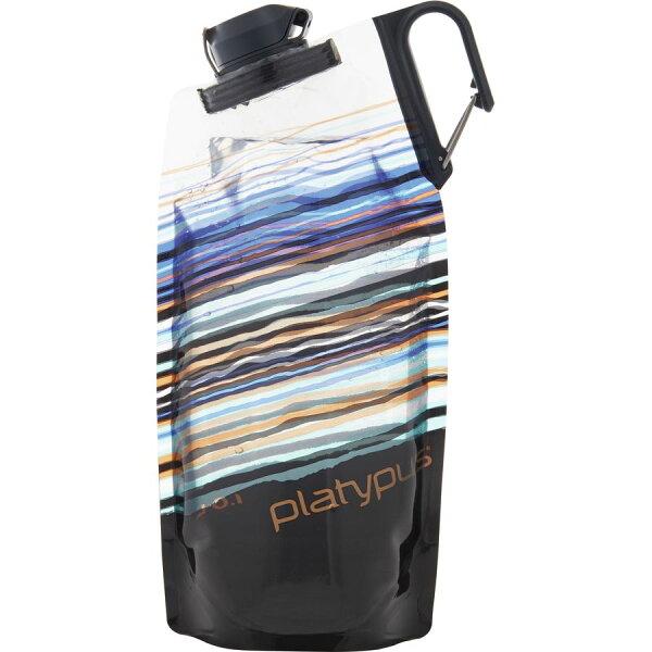 【【蘋果戶外】】platypus09903橘色天際線1LDuoLock軟式握把水瓶摺疊水袋蓄水袋水壺登山露營自行車
