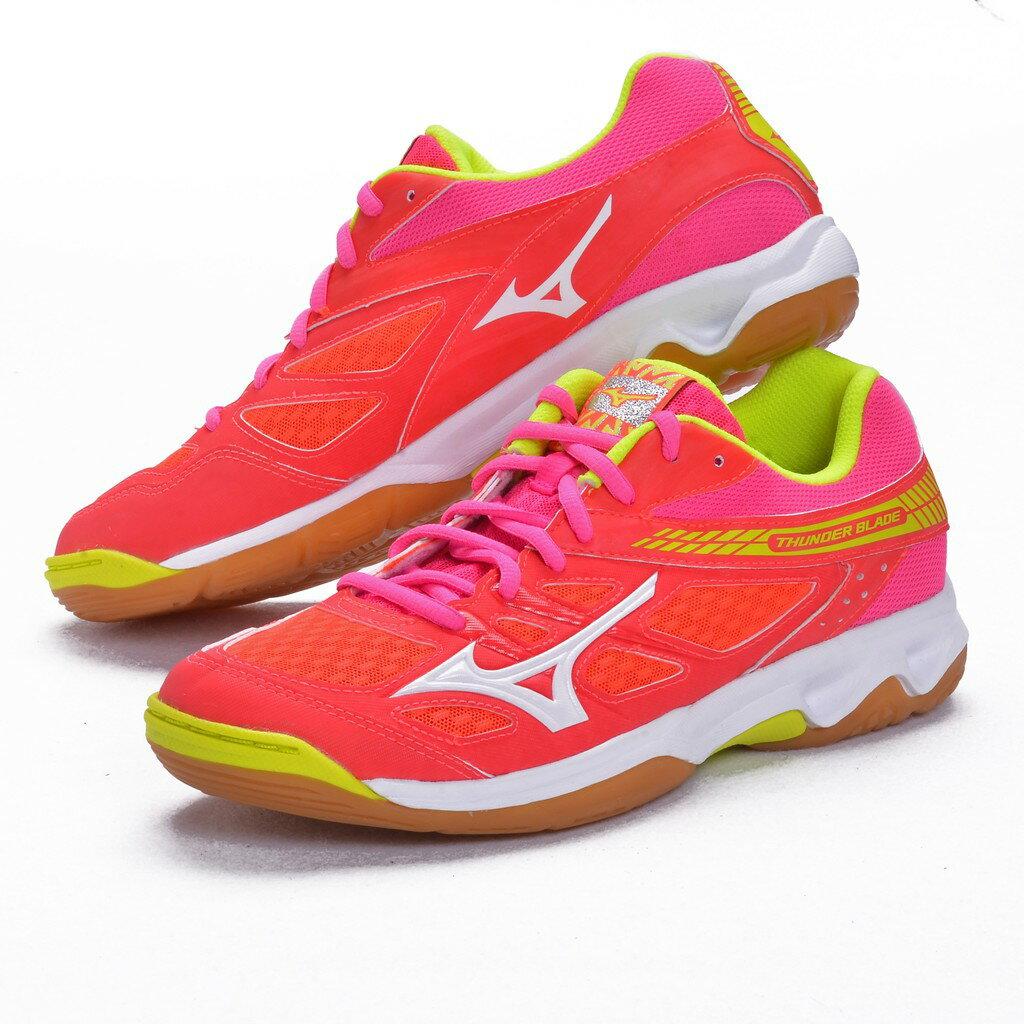 樂買網 MIZUNO 18SS 女款 排羽球鞋 THUNDER-BLADE V1GC177046 橘紅x黃