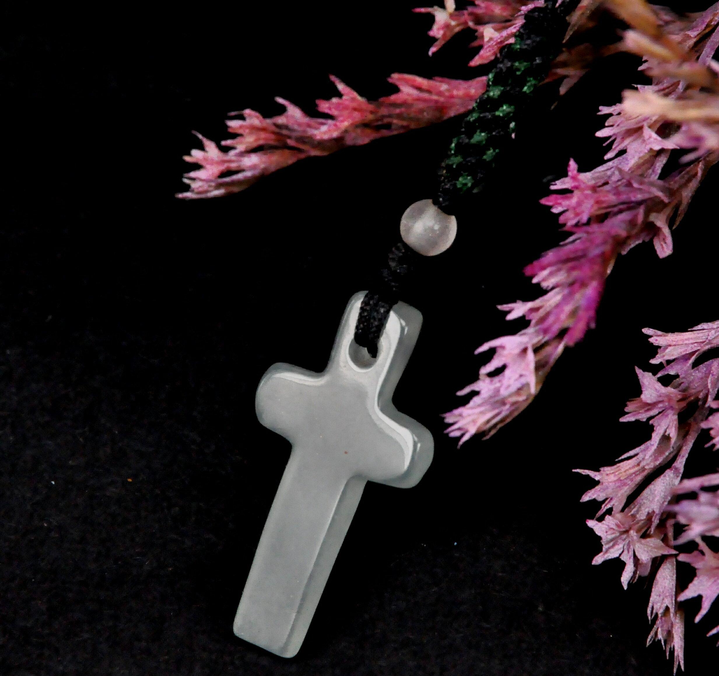 十字架小翡翠手工編繩吊飾