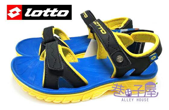 【巷子屋】義大利第一品牌-LOTTO樂得 男童跳色超輕量運動涼鞋 單足140g [2400] 黑黃 超直價$398