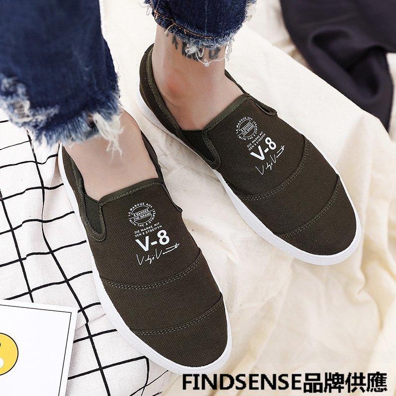 FINDSENSE品牌 四季款 新款 日本 男 高品質 簡約 輕便 懶人一腳蹬 帆布鞋  舒適透氣 休閒鞋  潮流鞋子