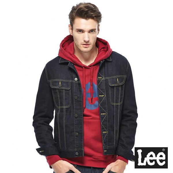 Lee素面基本款牛仔外套-男款-深藍