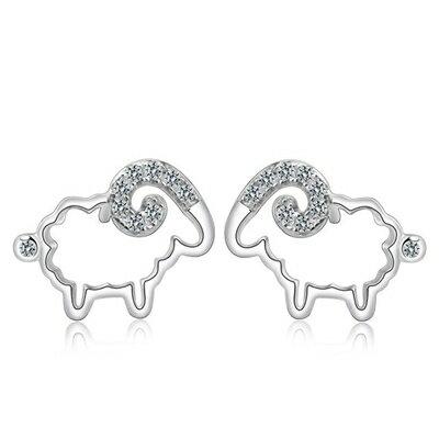 ~925純銀耳環鑲鑽耳飾~可愛綿羊 生日情人節 女飾品73dy83~ ~~米蘭 ~