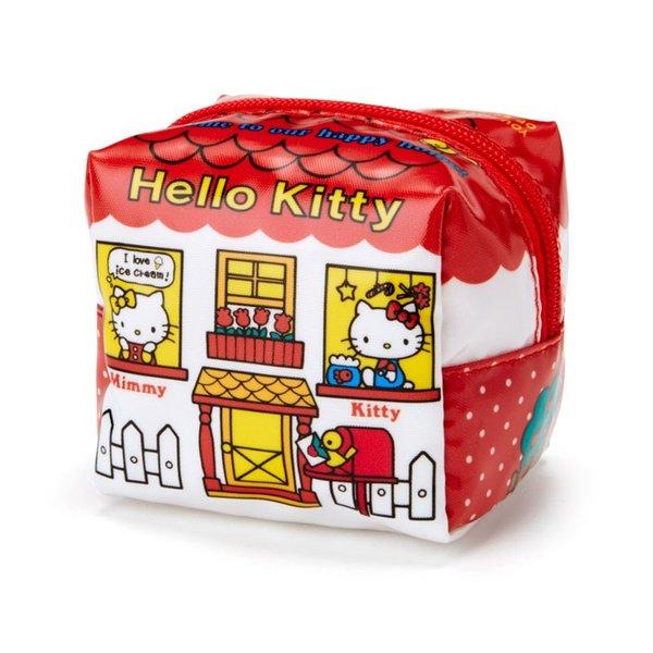 【真愛日本】18082200017亮膠立體四方小化妝包S-KT窗戶ADF凱蒂貓kitty零錢包化妝包小包