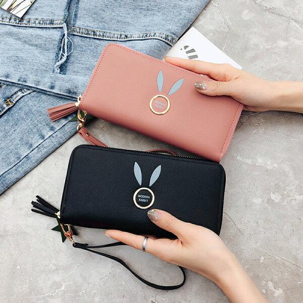 韓版兔耳流蘇拉鍊長夾皮夾錢包卡夾
