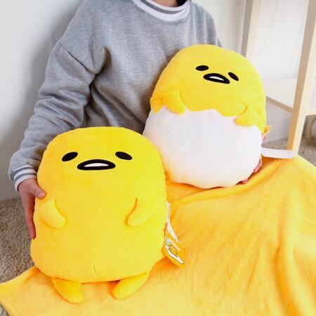 正版蛋黃哥兩用毛毯抱枕 頭枕 抱枕 靠墊 靠枕 娃娃 毯子 懶人毯 披肩 毛毯 被毯 三麗鷗 SANRIO【B062596】