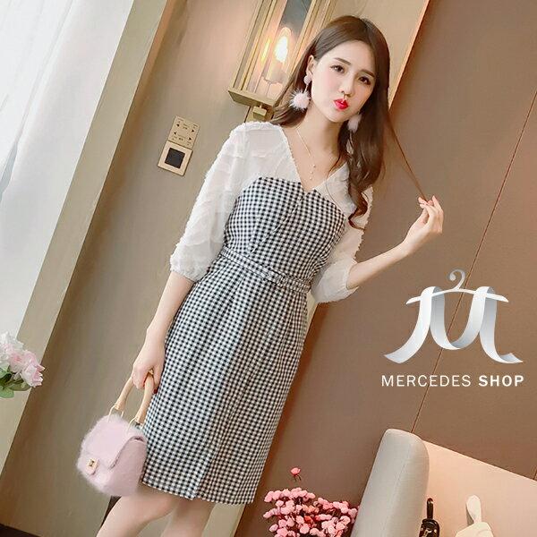 《全店75折》韓國小清新格子修身顯瘦包臀連身裙五分袖洋裝(M-L,2色)-梅西蒂絲(現貨+預購)