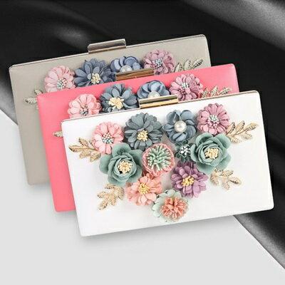 晚宴包鏈條手提包-珍珠花朵繽紛多彩女手拿包4色73rk54【獨家進口】【米蘭精品】