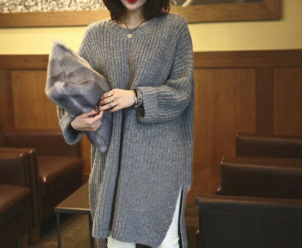 韓版下擺開叉寬鬆粗針毛衣針織衫外套