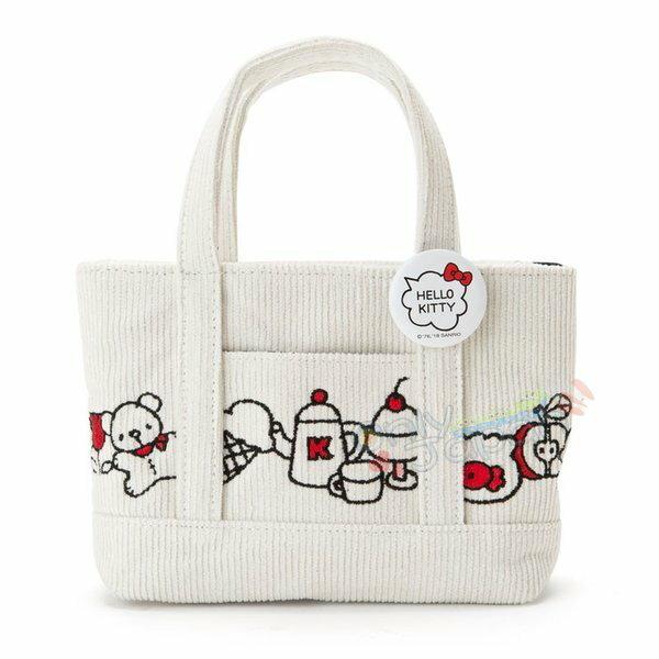 【真愛日本】4901610062456燈芯絨刺繡提袋化妝包-KT甜點ADM凱蒂貓kitty三麗鷗家族手提袋