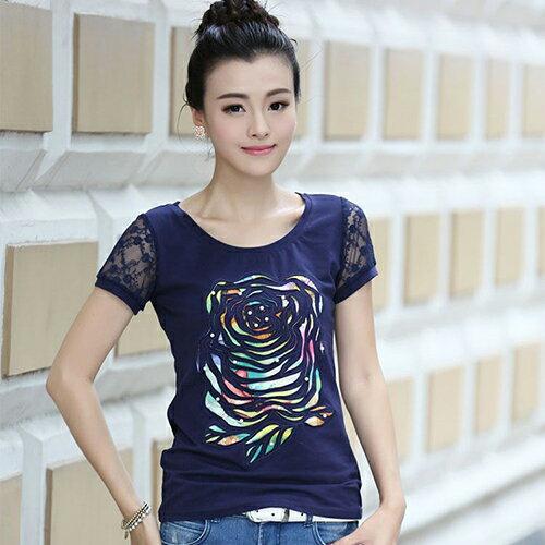 民族風女裝純棉蕾絲短袖T恤(3色S~3XL)*ORead*