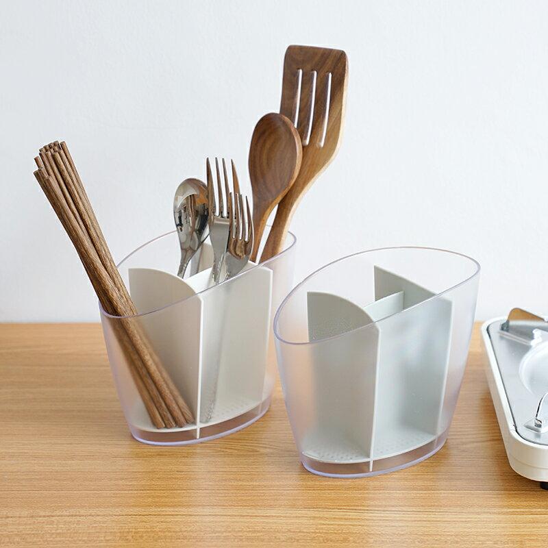 創意韓式雙筒筷子筒瀝水筷籠筷子收納盒塑料筷子架 餐具籠1入