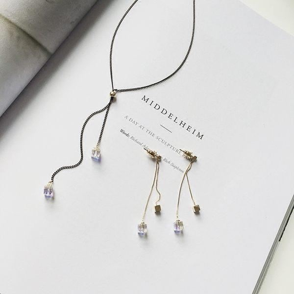 PS Mall 日韓  炫彩水晶吊墜項鍊 同款耳環鏈條流蘇項鍊鎖骨鏈~G2285~