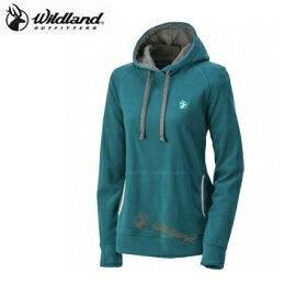 [ WILDLAND 荒野 ] 女 遠紅連帽保暖衣 藍綠 / 買衣服送圍巾 隨機出貨不挑色 / 0A32503-47