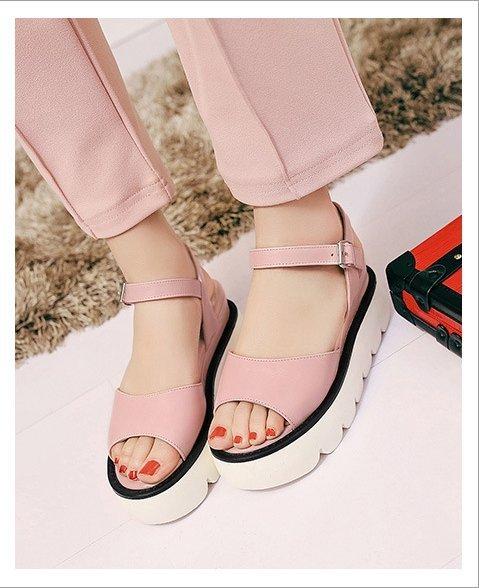 Pyf ♥ 寬版一字帶 厚底增高涼鞋 修飾腳型 舒適軟Q鞋底 43 大尺碼女鞋