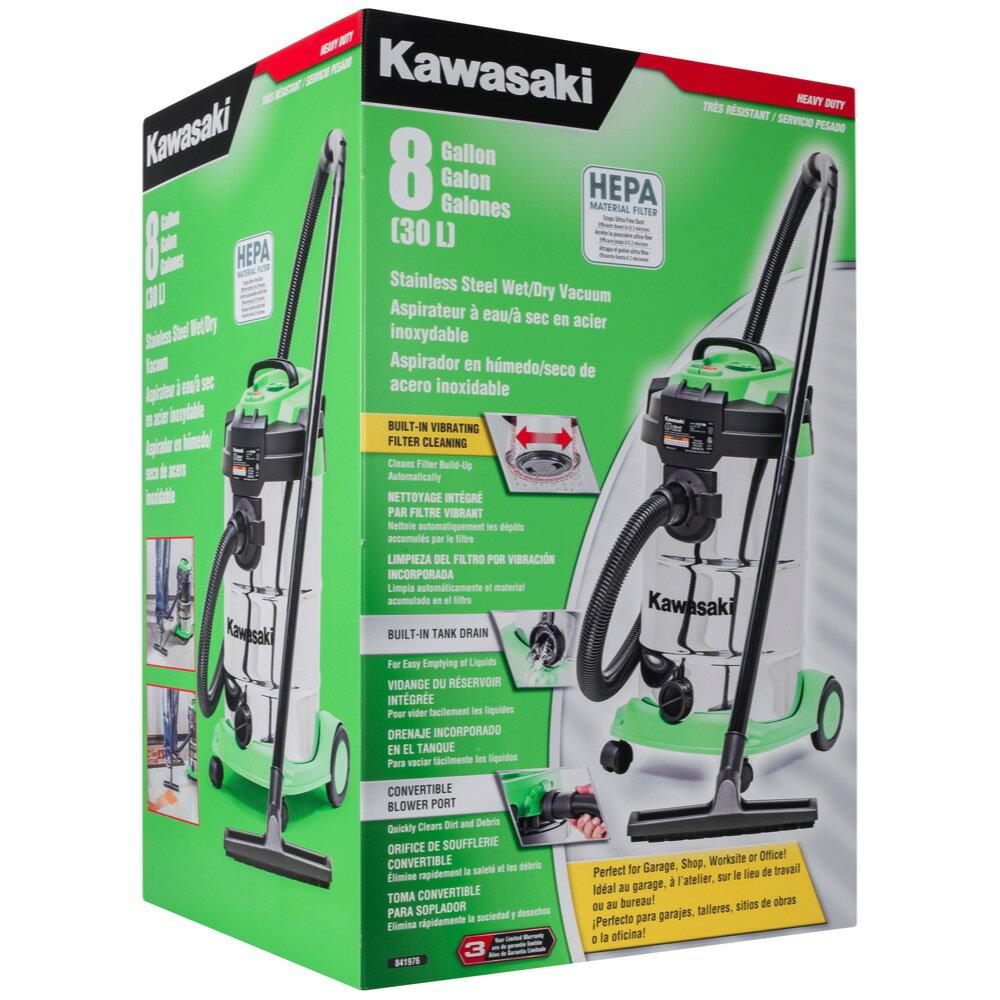 Kawasaki 8 Gallon Quiet Powerful Stainless Wet/Dry Vacuum HEPA filter - 841976 2