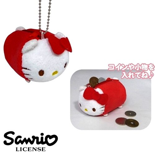 紅色款【日本進口正版】凱蒂貓 HelloKitty 趴趴 零錢包 吊飾 擺飾 三麗鷗 Sanrio - 371852