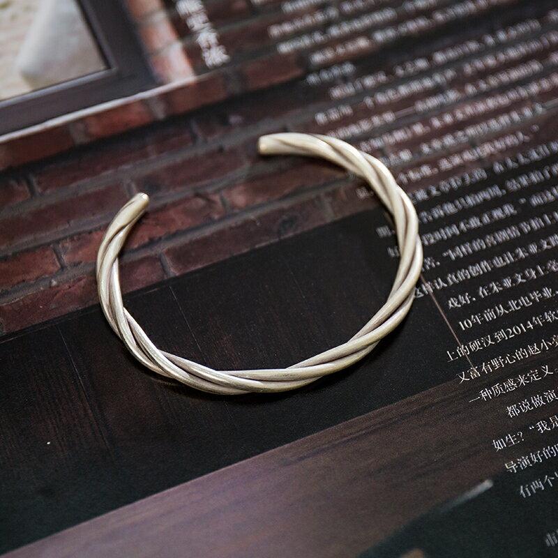 沉默的年代 泰國清邁手工 990足銀 麻花扭紋手鐲 男女情侶手鐲1入