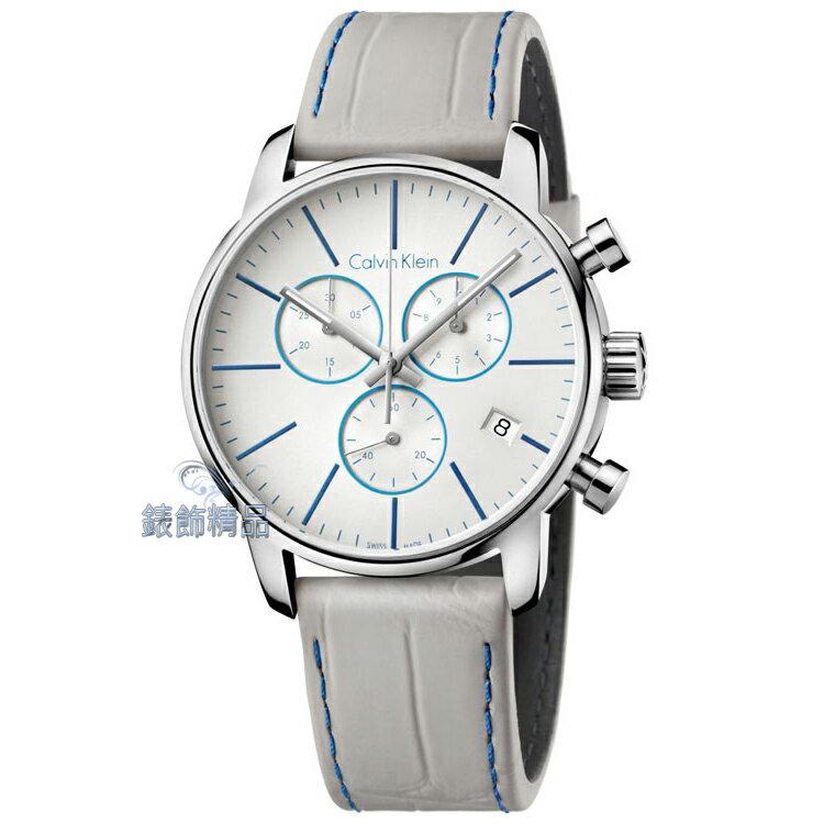 【錶飾精品】CK錶 CK手錶 經典時尚都會型男 三眼計時 日期 灰皮帶男錶 K2G271Q4 全新原廠正品 情人生日禮品