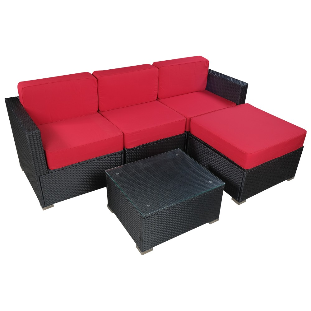 "Mcombo 5PC Big Size Outdoor Furniture Luxury Patio thick(6"") Cushions Black  Wicker Rattan Sofa Chair Sectional 6082-5PC"