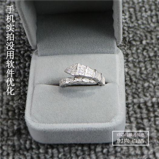 s925純銀微鑲鋯石單圈蛇形戒指女日韓潮人個性男女情侶戒指環飾品