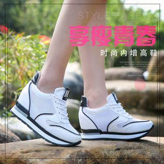 增高鞋夏季內增高女鞋網鞋厚底坡跟韓版百搭鏤空透氣運動鞋女休閒鞋 MKS