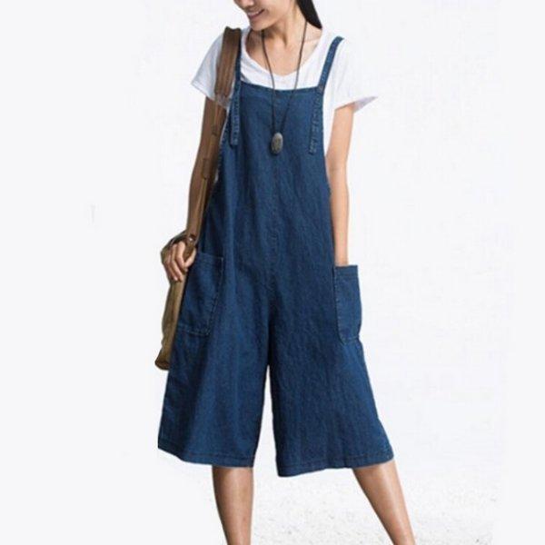*漂亮小媽咪*韓國寬鬆仿牛仔吊帶褲寬褲口袋背帶褲孕婦褲孕婦裝七分褲P1230