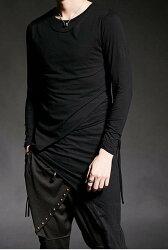 FINDSENSE 韓國潮流 個性 不規則打底衫 時尚 街頭潮男 夜店 DJ 發型師 必備 長袖T恤 特色長T