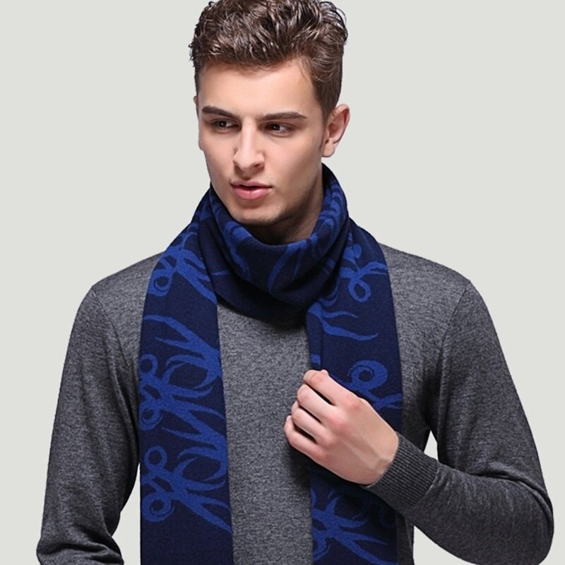 圍巾羊毛披肩-幾何線條拼色針織男配件3色73wh67【獨家進口】【米蘭精品】