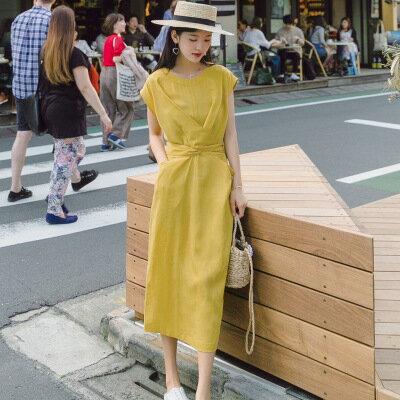 韓系女裝復古短袖中長款收腰長裙連身裙洋裝樂天時尚館。預購