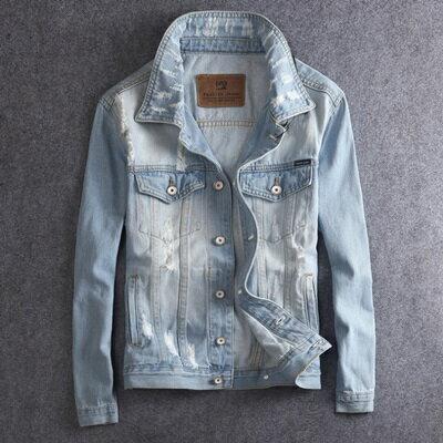 牛仔外套淺色夾克-時尚個性磨破休閒男外套73rj1【獨家進口】【米蘭精品】