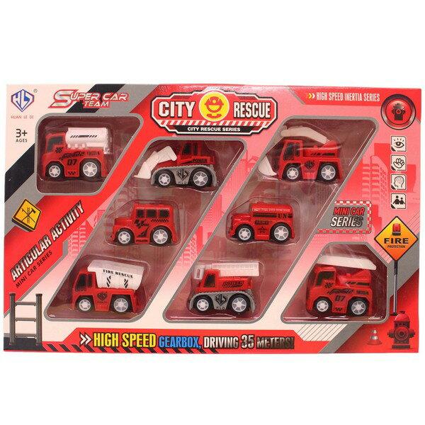 8入迴力迷你消防車工程車876E-15A一盒入{促150}迷你車~生K261
