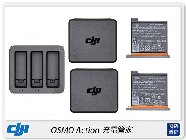 【銀行刷卡金+樂天點數回饋】現貨! DJI 大疆 OSMO Action 充電管家 充電器(公司貨)三電池充電器X1,電池X2,電池盒X2