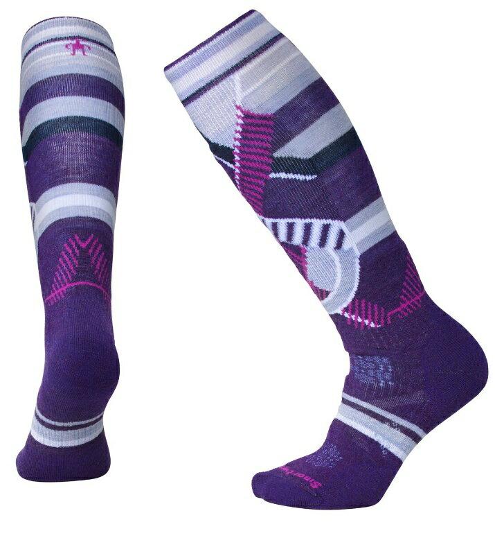 Smartwool羊毛襪/雪襪/保暖襪/美麗諾羊毛/ 女款PhD滑雪中級減震印花高筒襪 SW001002 591 山嵐紫