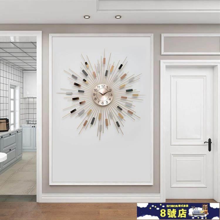 北歐掛鐘客廳家用時尚創意輕奢墻面裝飾個性簡約時鐘掛墻表石英鐘 WJ