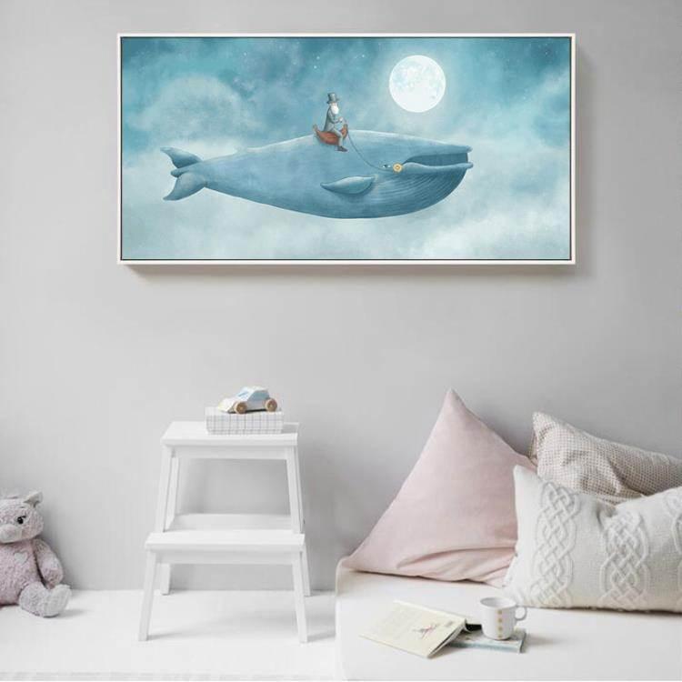 裝飾畫 現代裝飾畫卡通壁畫兒童房墻畫藍色捲畫橫版背景墻畫暢游星海新品