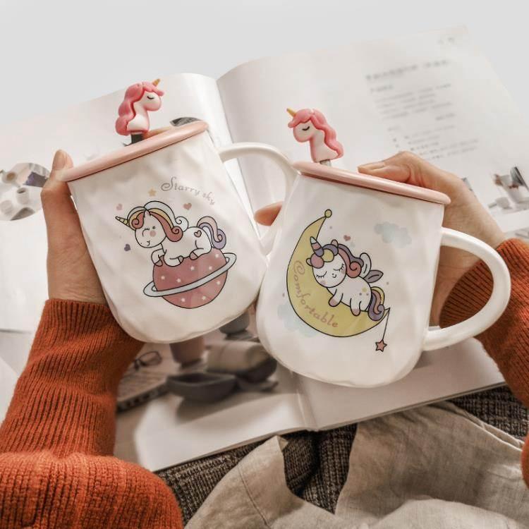 馬克杯 網紅ins潮流少女杯子家用女超可愛水杯個性創意陶瓷馬克杯帶蓋勺 8號店