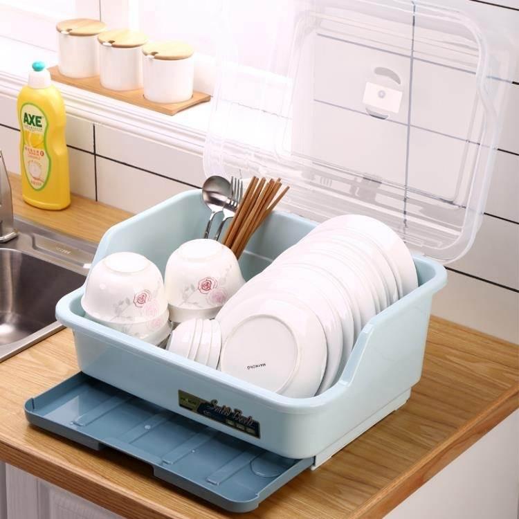 新品碗櫃廚房碗櫃塑料放碗架瀝水架裝碗筷碗碟餐具收納盒帶蓋箱家用置物架 WJ