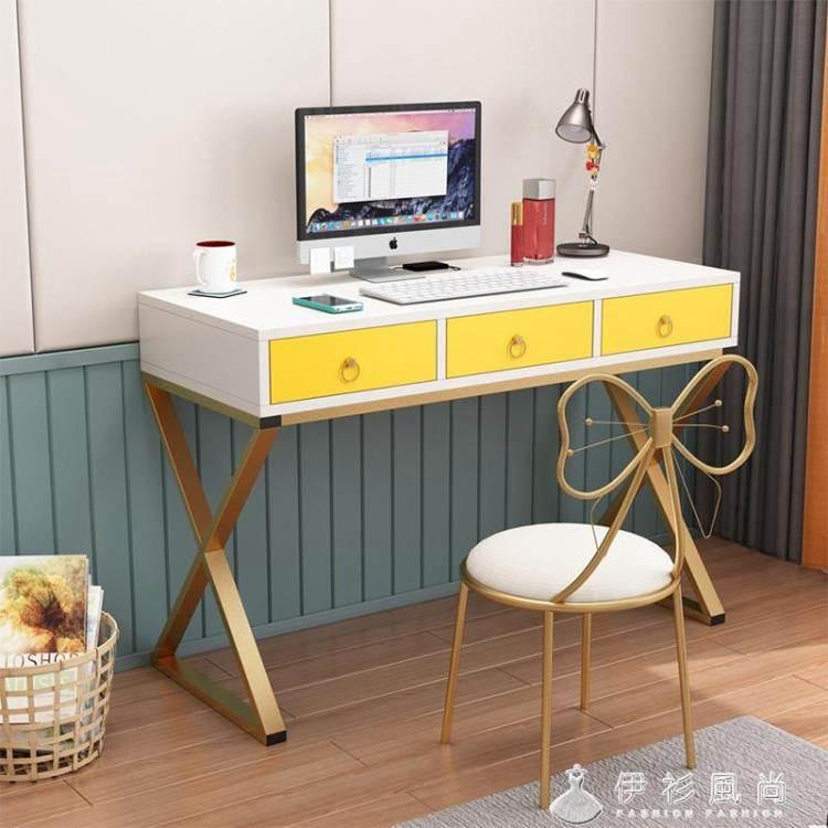 白色電腦臺式桌歐式80CM書桌家用輕奢簡約辦公桌帶抽屜學生寫字臺 ATF
