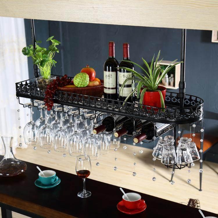 紅酒架 吧臺裝飾高腳杯架懸掛紅酒杯架倒掛家用歐式酒杯架創意葡萄酒杯架紅酒架