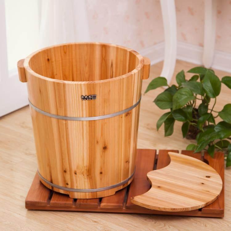 沐之風40CM高杉木泡腳木桶足浴桶洗腳盆木桶泡腳木盆家用 帶蓋